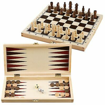 £9.99 • Buy 3 In 1 Wooden Board Game Set Compendium Travel Games Chess Draughts Backgammon