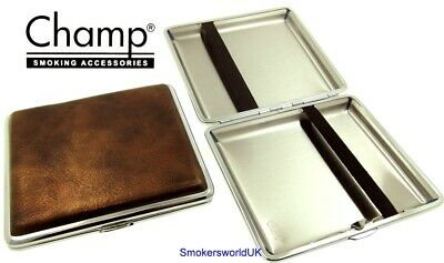 Cigarette Case -- Champ Vintage Leatherette Bronze 20 King Size -- NEW Chks30 • 6.49£