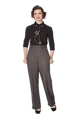 Charcoal Wide Leg High Waist Rockabilly Vintage Button Trousers BANNED Apparel • 29.99£