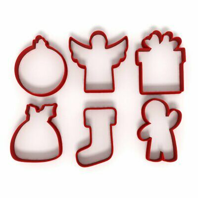 Festive Christmas Set Of 6 Cookie/Fondant Cutters Biscuit Dough Icing Cake UK 3 • 7.99£