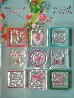Docrafts Papermania AT CHRISTMAS By Lucy Cromwell ~ 9 Clear Mini Stamps • 1.99£
