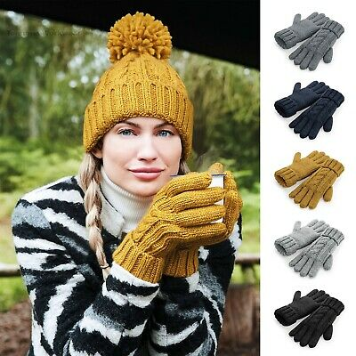 £11.29 • Buy Cable Knit Premium Winter Gloves Men's Women's Chunky Knitted Warm Ski Mitts