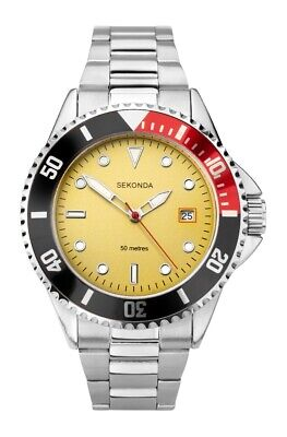 £23.99 • Buy Sekonda Mens Sports Watch With Yellow Dial And Silver Bracelet 1799