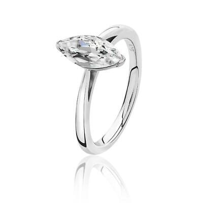 Rhodium Plated Silver 2 Claw Set 10x5mm Marquise Cz Solitaire Engagement Ring • 35£