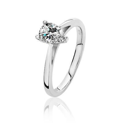Rhodium Plated Silver 3 Claw Set 7x5mm Pear Cut Cz Solitaire Engagement Ring • 35£