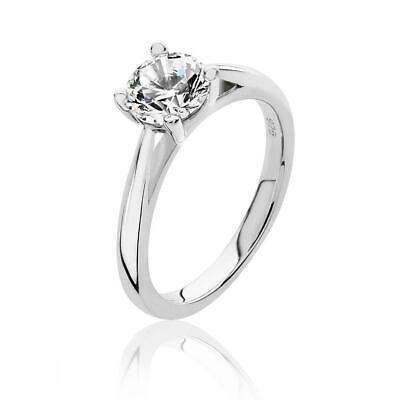 925 Silver 4 Claw Set 6.5mm Round Cz Solitaire Engagement Ring Rhodium Plated • 35£