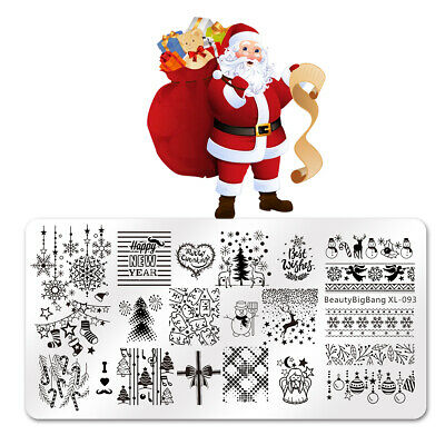 $4.79 • Buy Nail Art Stamping Plates Stamp Christmas Theme Manicure Template Nail Stencil