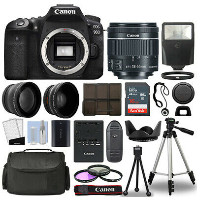 AU1676.38 • Buy Canon EOS 90D DSLR Camera Body + 3 Lens Kit 18-55mm IS STM + 16GB + Flash & More