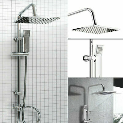 Shower Kit Twin Head 2 Mixer Shower Heads Rail Hose Riser Square Bathroom Set • 27.99£