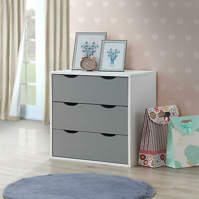 Alton 3 Drawer Bedroom Cabinet Bedside Chest Of Drawers White & Grey • 67.15£