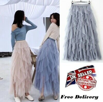 Women High Waist Ruffle Mesh Tutu Skirt Sheer Net Tulle Pleated Long Party Dress • 11.99£