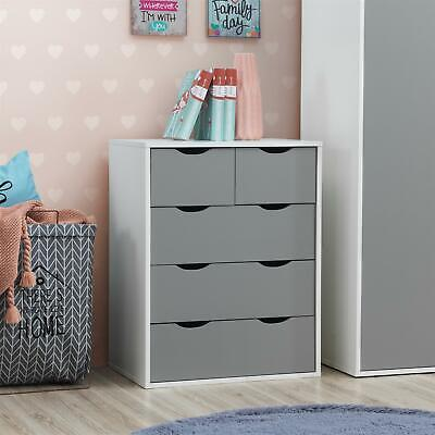 £74.99 • Buy Alton 3+2 Drawer Bedroom Cabinet Bedside Chest Of Drawers White & Grey