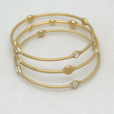 $ CDN12.02 • Buy Lia Sophia Signed Women Jewerlry Gold Plated Triple Bangle Cut Crystals Bracelet