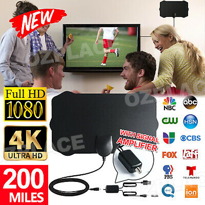 AU13.85 • Buy 200 Miles 4K Digital HDTV Indoor Range Antenna TV With Amplifier Signal Booster