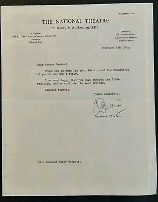 Laurence Olivier Signed Letter From The National Theatre 1964 • 100£