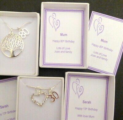 £6 • Buy Tree Of Life Or Heart 13th 16th 18th 21st Birthday Necklace Gift OR A-Z Initials