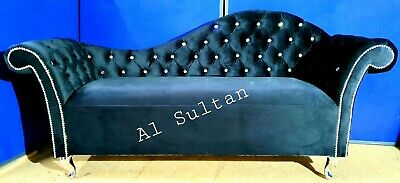 Black Velvet Tufted Chesterfield Chaise Lounge Sofa Bedroom Accent Chair Bench  • 299£