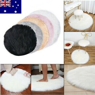 AU19.47 • Buy Round Soft Shaggy Area Bedroom Rug Faux Fur Anti-Skid Carpet Floor Fluffy Mats