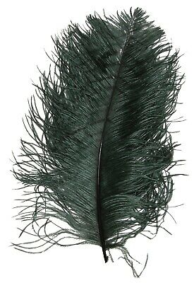 $14.99 • Buy 2 PCs OSTRICH PLUMES 8 -18  FEATHERS COLOR : HUNTER GREEN For Hats/Bridal