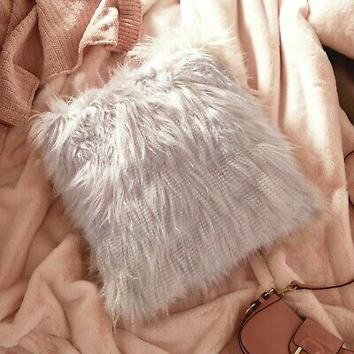 £7.99 • Buy Beautify Mongolian Faux Fur Cushion And Cover Lilac Fluffy Soft 45 X 45cm