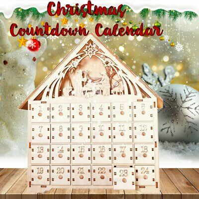 Wooden Advent Calendar Countdown Christmas Party 24 Pull-Out Drawers LED Light • 37.69$