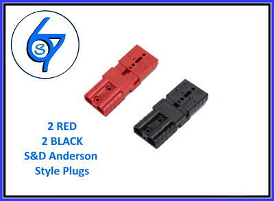 AU13.25 • Buy 4 X ANDERSON STYLE PLUGS 2 X RED 2 X BLACK 50 AMP PREMIUM HEAVY DUTY