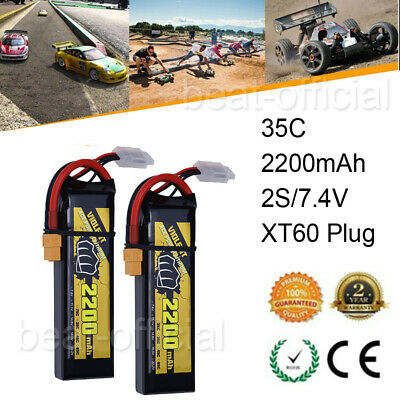 $ CDN27.51 • Buy 2x 2S 7.4V 2200mAh 35C RC LiPo Battery XT60 For RC Car Truck Truggy Helicopter