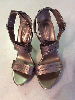 £13.48 • Buy Aldo Pewter High Heel Strapping Sandals Shoe Ladies Size 8