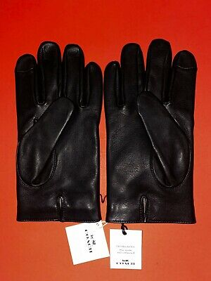 $79.95 • Buy NWT COACH 54182 MEN'S BASIC NAPPA LEATHER TECH TOUCH SCREEN GLOVES Black M
