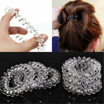 $ CDN2.41 • Buy 6pcs Clear Elastic Rubber Hair Ties Hairband Spiral Rope HairBand Girl
