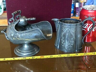 Pewter Milk Jug And Miniature Coal Scuttle Ornate Antique Gorgeous • 66.24£