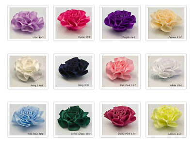 Satin Ribbon Rosette Cabbage Flowers  16 Colours Packet Sizes 2 5 10 20   • 3.20£