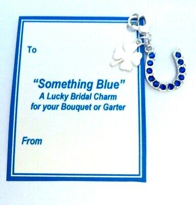 Something Blue Traditional Lucky Bridal Charm Horseshoe & Lucky Clover On Card • 5.07£