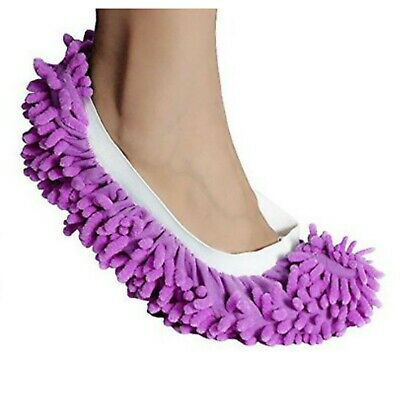 Dust Mop Slippers Lazy Floor Polishing Cleaning Socks Student Novelty Gift Purp • 3.19£