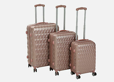 Hard Shell Trolley Suitcase 4 Wheel Spinner Lightweight Luggage Travel Rose Gold • 84.99£