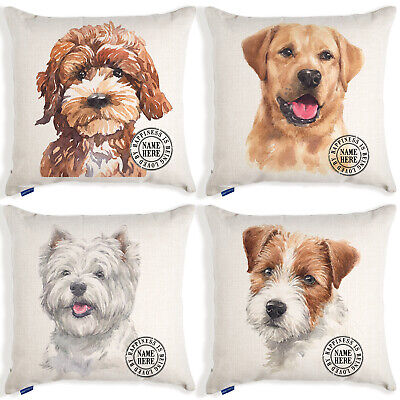 Personalised Dog Portrait Cushion Cover Watercolour Linen Christmas Birthday  • 12.95£