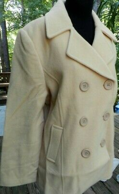 £37.36 • Buy Wool Coat Beige Chadwicks 14 Winter Double Breasted Misses Size 14 New