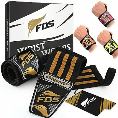 FDS Wrist Wraps Straps Weight Lifting Padded Training Gym Hand Bar Gloves Grip  • 4.99£