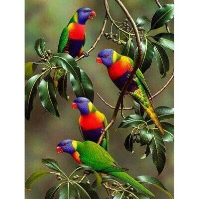 AU16.65 • Buy 5D Full Drill Diamond Painting Parrots Embroidery Cross Stitch Kits Decor Gifts