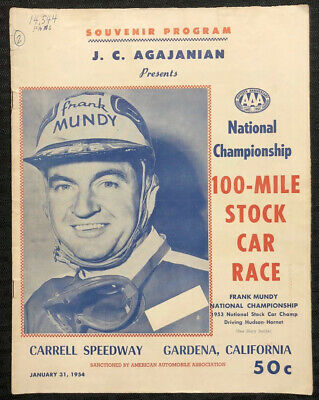 $125 • Buy 1954 Carrell Speedway AAA NASCAR STOCK CAR RACE Program FRANK MUNDY Cover VG/FN