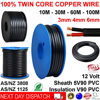 AU99.95 • Buy New 3mm 4mm 6mm Twin Core Automotive Battery Copper Cable 3 4 6 Dual 2 Wire 12v