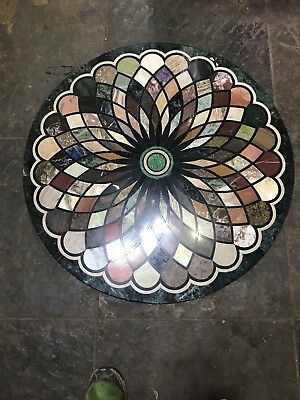 36  Marble Table Top Marquetry Pietra Dura Beautiful Inc Blue John • 950£