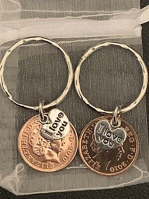 NEW PAIR OF 10th Tenth WEDDING ANNIVERSARY GIFT  COPPER  2010 PENNY KEYRINGS • 6.99£