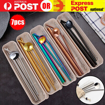 AU9.99 • Buy 7PCS Reusable Metal Stainless Steel Straws Drinking Straw Spoon Set With Brush