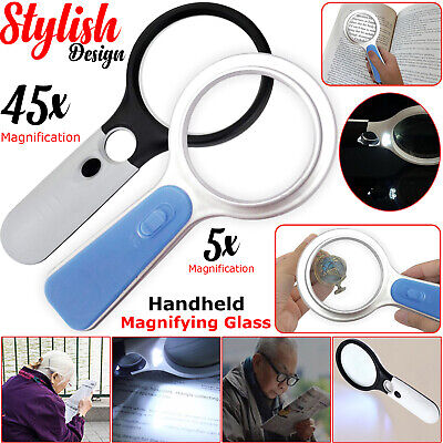 Handheld 45X 5X Magnifier Magnifying Glass Reading Jewelry Loupe With LED Light • 2.99£