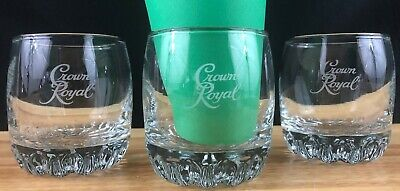 3 Crown Royal Whiskey Glasses - Low Ball Rocks - Made In Italy - NO PILLOW GLASS • 26.99$