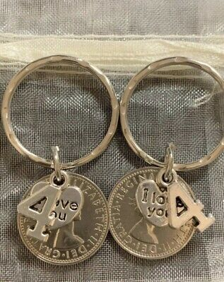 £6.99 • Buy New Pair Of Polished 2017 5p Coins 4th Wedding Anniversary Gift Keyrings In Bag