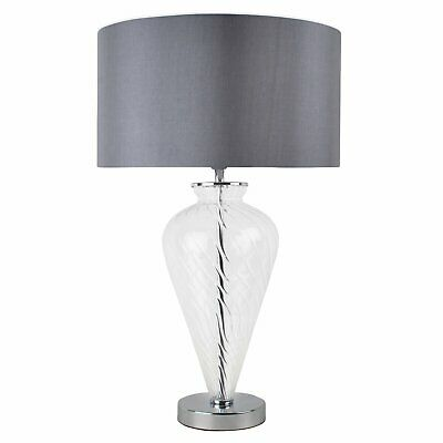 £39.99 • Buy Modern Clear Glass Bedside Table Lamp Light With Grey Fabric Shade Lounge