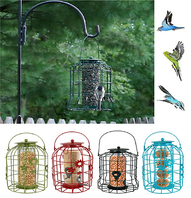 Large Hanging Seed/Peanut/Fat Ball/Squirrel Proof Guard Bird Feeder Metal Cage • 17.99£