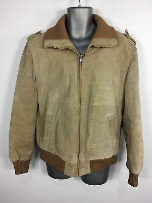£29.99 • Buy Mens Camel Brown Genuine Leather Faux Fur Lined Zip Up Jacket Chest Size 42  Reg